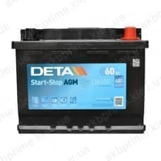 Аккумулятор Deta AGM Start Stop 60Ah 680A R+