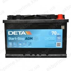 Аккумулятор Deta AGM Start Stop 70Ah 760A R+