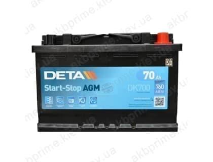 Аккумулятор Deta AGM Start Stop 70Ah 760A R+