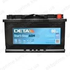 Аккумулятор Deta AGM Start Stop 80Ah 800A R+